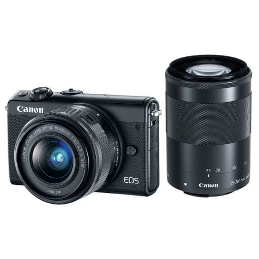 Canon EOS M100 w/ 15-45mm Lens & 55-200mm Lens – Wi-Fi, Bluetooth, and NFC enabled (Black)