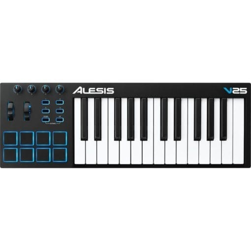Alesis V25 | 25-Key USB MIDI Keyboard with Drum Pad Controller (8 Pads / 4 Knobs / 4 Buttons)