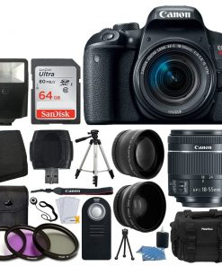 Canon EOS Rebel T7i 24.2MP Digital SLR Camera + EF-S 18-55mm f/4-5.6 IS STM Lens + 64GB Memory Card + Wide Angle & Telephoto Lens + UV Filter Kit + Vivitar Gadget Bag + Quality Tripod + Valued Bundle