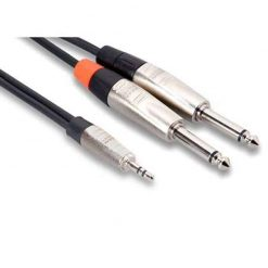 Hosa HMP-006Y REAN 3.5 mm TRS to Dual 1/4 inch TS Pro Stereo Breakout Cable, 6 feet