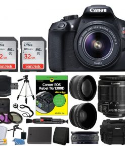 Canon EOS Rebel DSLR T6 Camera Body + Canon 18-55mm EF-S IS II Autofocus Lens + Wide Angle & 2x 58mm Lens + 64GB Card + T6/1300D for Dummies + Vivitar Gadget Bag + Quality Tripod + Deluxe Kit