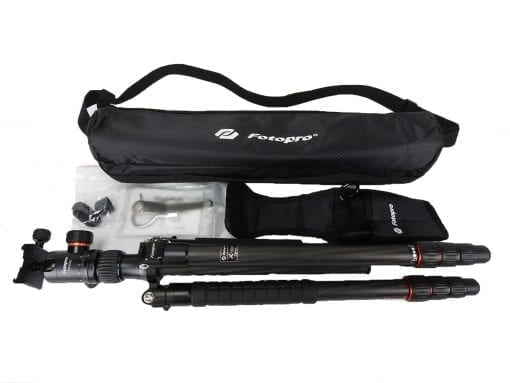 "FotoPro X-Go Max 4-Section Carbon Fiber Tripod with Built-In Monopod, FPH-62Q Ball Head, 26 lbs Capacity, 67"" Maximum Height"