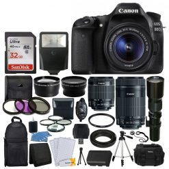 Canon EOS 80D DSLR Camera with EF-S 18-55mm lens & EF-S 55-250mm Lens Complete Accessory Kit