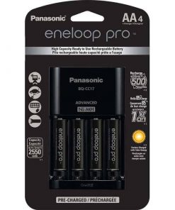 Panasonic Eneloop Pro Rechargeable AA Ni-MH Batteries with Charger (2550mAh, Pack of Four)