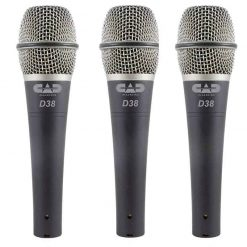 Cad Audio 3 Pack of D38 Supercardioid Dynamic Microphone