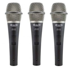 Cad Audio 3 Pack D32 Supercardoid Dynamic Vocal Microphone with On/Off Switch
