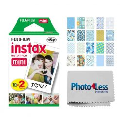 Fujifilm instax mini Instant Film (20 Exposures) + 20 Sticker Frames for Fuji Instax Prints Baby Boy Themed Package + Photo4Less Cleaning Cloth – Deluxe Accessory Bundle