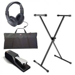 On Stage KS7190 Classic Single-X Keyboard Stand + Gator Cases GKBE-61 Economy Keyboard Bag + M-Audio SP-2 Universal Sustain Pedal + Samson SR350 Over-Ear Stereo Headphones + Complete Accessory Bundle