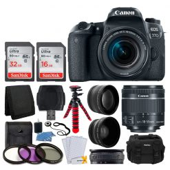 Canon EOS 77D DSLR Camera + EF-S 18-55mm f/4-5.6 IS STM Lens + 58mm Wide Angle Lens + 2x Telephoto Lens + 48GB SDHC Memory Card + UV Filter Kit + Flexible Tripod + SLR Camera Case + Accessories