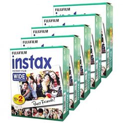 Pack of 5 Fujifilm Instax Wide Instant Films for Fuji Instax Wide 210 200 100 300 - 100 Exposures!