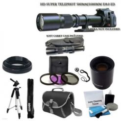 "500mm -1000mm f/8.0 High Definition Multi Coated Telephoto Lens With 2X Multiplier + UV Filter Kit + 59"" Lightweight Tripod + Case For ALL Digital SLR Nikon Camera D3200 D3300 D5100 D5200 D5300 D7000 D7100 D90"
