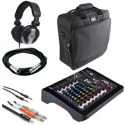 Allen & Heath ZEDi-10 Compact Hybrid Mixer/USB Interface + Gator Cases G-MIXERBAG + Headphone + XLR Mic Cable + Instrument Cable & Stereo Cable