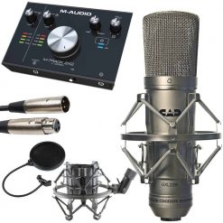 CAD GXL2200 Cardioid Condenser Microphone + Pop Filter Goosneck + M-Audio M Track C Series 2x2 Audio Interface + Technology Balanced interconnect XLR3F to XLR3M 5' Cable - Top Value Bundle