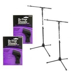 "2 On Stage MS7701B Professional Tripod Microphone Stands with 30"" Boom + 2 On Stage MY250 Shure Type Microphone Clip"