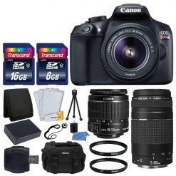 Canon EOS Rebel T6 Digital SLR Camera + Canon 18-55mm EF-S Lens & EF 75-300mm Lens + Transcend 24GB SDHC Card + 2x 58mm UV Filters + Extra Battery + Card Reader + Vivitar Gadget Bag + Valued Bundle