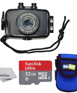 Intova Duo Waterproof HD POV Sports Video Action Camera With Compact Case + 32GB microSDHC UHS-I Card with Adapter + Clean Cloth (Black)