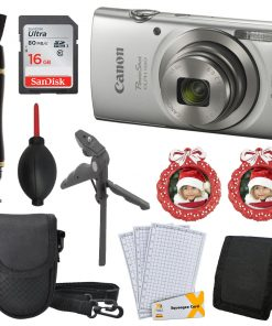 Canon PowerShot ELPH 180 (Silver) with 20.0 MP CCD Sensor and 8x Optical Zoom+16GB Card+Tripod+PhotoFrames+More