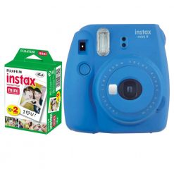 Fujifilm instax mini 9 Instant Film Camera (Cobalt Blue) + Fujifilm Instax Mini Twin Pack Instant Film (20 Shots)– International Version (No Warranty)