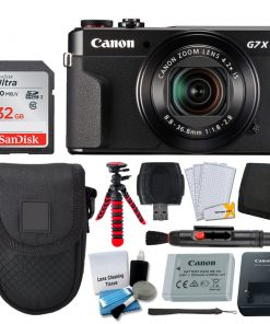 Canon PowerShot G7 X Mark II Digital Camera (Black) + Point & Shoot Case + 32GB Memory Card + 12 Flexible Tripod + USB Card Reader + Memory Card Wallet + LCD Screen Protectors – Accessory Bundle