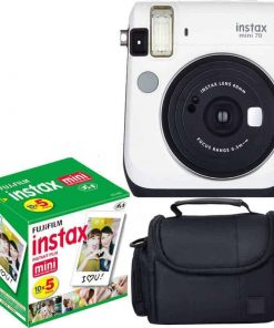 Fujifilm Instax Mini 70 - White Instant Film Camera With Fujifilm Instax Mini 5 Pack Instant Film (50 Shots) + Compact Bag Case - International Version (No Warranty)