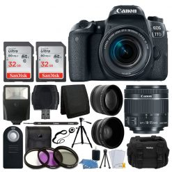 Canon EOS 77D DSLR Camera + EF-S 18-55mm f/4-5.6 IS STM Lens + 58mm Wide Angle Lens + 2x Telephoto Lens + Slave Flash + 64GB SDHC Memory Card + UV Filter Kit + Quality Tripod - Full Accessory Bundle