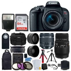Canon EOS Rebel T7i DSLR Camera + EF-S 18-55mm f/4-5.6 IS STM Lens + Sigma 70-300mm f/4-5.6 DG Macro Lens + 64GB Memory Card + Backpack & Case + Flexible Tripod + Wireless Remote + Accessory Bundle
