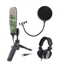 CAD Audio U37 USB Studio Condenser Vocal,Instrument & Recording Microphone, Camouflage With CAD Audio 6 Pop Filter on Gooseneck + CAD Audio MH110 Studio Monitor Headphones