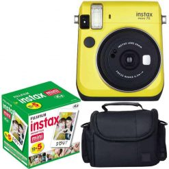 Fujifilm Instax Mini 70 Yellow - Instant Film Camera With Fujifilm Instax Mini 5 Pack Instant Film (50 Shots) + Compact Bag Case - International Version (No Warranty)
