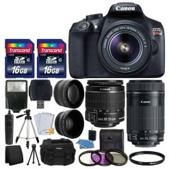 Canon EOS Rebel T6 Digital SLR Camera + Canon 18-55mm EF-S f/3.5-5.6 IS II Lens & EF-S 55-250mm f/4-5.6 IS STM Lens + Wide Angle Lens + 58mm 2x Lens + Auto Power Flash + 32GB SDHC Card + Accessory Kit