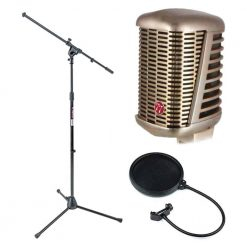 CAD A77 Supercardioid Large Diaphragm Dynamic Microphone + CAD Audio EPF-5A VP 1 Pop Filter 6 on 14-Inch Gooseneck + On Stage MS7701B Euro Boom Microphone Stand + Top Value Mic Accessory Bundle