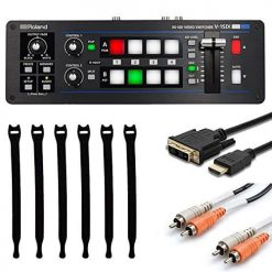 Roland V-1SDI 4 Channel HD Video Switcher, 3x SDI Inputs, 2x HDMI Inputs + Cable CRA202 Dual RCA Cable - 6.5 Foot + HDMD-403 3-Feet Standard Speed HDMI to DVI-D Cable + Strapeez, Black + Valued Bundle