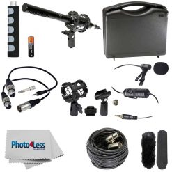 "New Vidpro XM-55 15-Piece 11"" Condenser Shotgun Video & Broadcast Microphone Kit With Vidpro XM-L Wired Lavalier Condenser Microphone 20' Audio Cable for Canon Nikon Sony DSLR Camera Camcorders Smartphones"