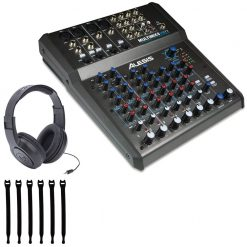 Alesis MultiMix 8 USB FX | 8-Channel Mixer with Effects & USB Audio Interface +Op/Tech Strapeez, Black 4301002 + Samson SR350 Over-Ear Stereo Headphones