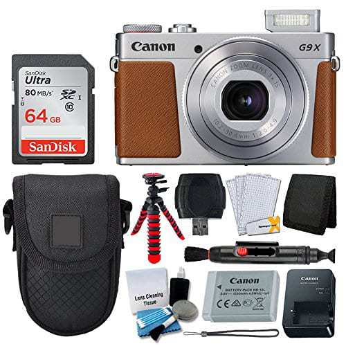 Canon PowerShot G9 X Mark II Digital Camera (Silver) + 64GB Memory Card + Point & Shoot Case + Flexible Tripod + USB Card Reader + Cleaning Kit + LCD Screen Protectors + Full Accessory Bundle