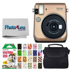 Fujifilm instax Mini 70 Instant Film Camera (Stardust Gold) + Fujifilm Instax Mini Twin Pack Instant Film + Small Digital Camera/Video Case + 20 Sticker Frames for Fuji Instax Prints Holiday Package