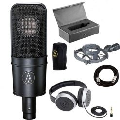 Audio-Technica AT4040 Cardioid Condenser Microphone + Samson SR550 Over-Ear Studio Headphones + On Stage Mic Cable, 20 ft. XLR Bulk – Cool Music Bundle!