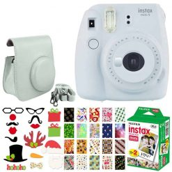 Fujifilm instax mini 9 Instant Film Camera (Smokey White) + Fujifilm Instax Mini Twin Pack Instant (20 Shots) + Case with Closure + Photo Booth Props + 20 Stickers Frames Holiday Package – Great Bundle