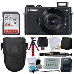 Canon PowerShot G9 X Mark II Digital Camera (Black) + 64GB Memory Card + Point & Shoot Case + Flexible Tripod + USB Card Reader + Cleaning Kit + LCD Screen Protectors + Deluxe Accessory Bundle