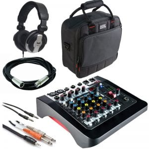 Allen & Heath ZED-6FX 6 Input Compact Analog Mixer with FX On-Board Effects Engine + Gator Cases G-MIXERBAG + Headphone + XLR Mic Cable + Instrument Cable & Stereo Cable