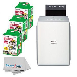 NEW Fujifilm instax SHARE Smartphone Printer SP-2 (Silver) + Fujifilm Instax Mini Twin Pack Instant Film (60 Shots) + Photo4Less Cleaning Cloth + Great Value Ultimate Filming Bundle