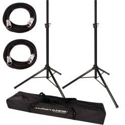 Ultimate Support JamStands JS-TS50 Tripod-Style Speaker Stand, Pair With Carry Bag + 2 XLR Mic Cables 20 Ft