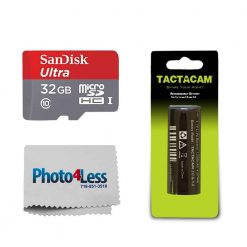 TACTACAM Rechargeable Battery for Tactacam 3.0/4.0 + Ultra 32GB microSDHC UHS-I Card with Adapter + Photo4Less Camera and Lens Cleaning Cloth – Valued Bundle