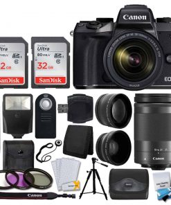 Canon EOS M5 Mirrorless Digital Camera + EF-M 18-150mm f/3.5-6.3 IS STM Lens (Graphite) + 64GB + 55mm Wide Angle & 2x Lens + Wireless Remote + Quality Tripod + Slave Flash + Accessories Bundle