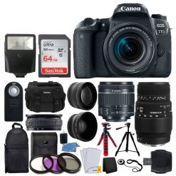 Canon EOS 77D DSLR Camera 1892C016 + EF-S 18-55mm f/4-5.6 IS STM Lens + Sigma 70-300mm f/4-5.6 DG Macro Lens + 64GB Memory Card + Backpack & Case + Flexible Tripod + Wireless Remote + Accessories