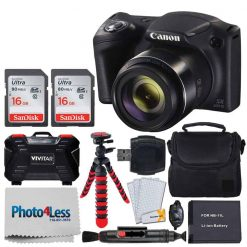 Canon PowerShot SX420 IS Digital Camera (Black) + Transcend 32GB Memory Card + Digital Camera Case + Extra Battery + Memory Card Wallet + Cleaning Kit + Hand Grip + Table Top Tripod + Complete Bundle