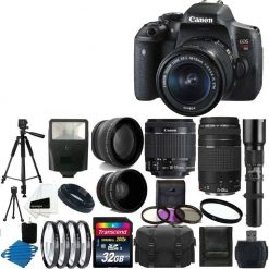 Canon EOS Rebel T6i Digital SLR Camera & 18-55 F3.5-5.6 IS STM & 75-300 f/4.0-5.6 Lens +Telephoto 500mm Lens & 58mm 2x Lens +Wide Angle Lens + Flash +Filter Kit & 32GB Complete Deluxe Accessory Bundle