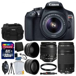 Canon EOS Rebel T6 Digital SLR Camera + 18-55mm EF-S IS II Lens & EF 75-300mm f/4-5.6 III Lens + 58mm Wide Angle Lens + 2x Lens + Camera Bag + UV Filter + 32GB SDHC Memory Card + Full Accessory Kit