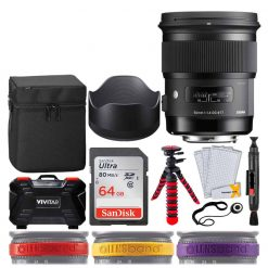 Sigma 50mm f/1.4 DG HSM Art Lens for Canon EF + 64GB Ultra UHS-I SDXC Memory Card + 12 Flexible Tripod + Memory Card Hard Case 24 Slots + Lens Cleaning Pen + Top Lens Band Variety Bundle