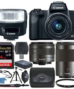 Canon EOS M50 Mirrorless Camera Kit w/  EF-M15-45mm + EF-M 55-200mm Lenses and 4K Video (Black)