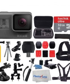 GoPro HERO5 Black Sports Action Video Camera - Waterproof to 33', Wi-Fi, Bluetooth & GPS +Ultra 32GB Card + Extendable Monopod + Flexible Tripod + Chest & Head Strap + Jaw Clamp + Accessories